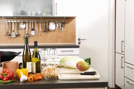 worktops: Various ingredients on work surface in a kitchen LANG_EVOIMAGES