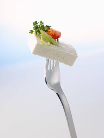 beancurd: Tofu on fork