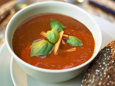 creamed: Creamed tomato soup with carrots and basil