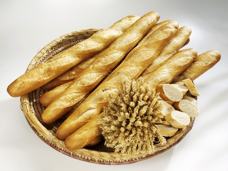several breads: Baguettes in a bread basket