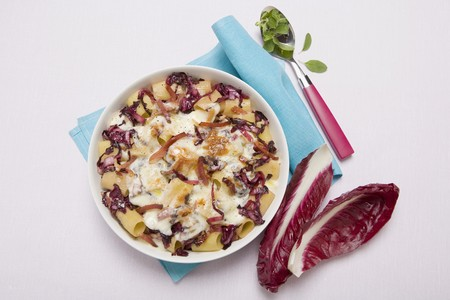 provola: Pasta with radicchio, schinkenspeck (cured pork), Provola cheese