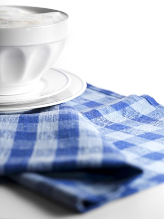 hot coffees: Caf� au lait in bowl on checked cloth