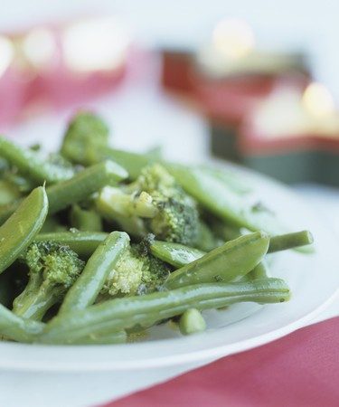 food: Blanched green vegetables
