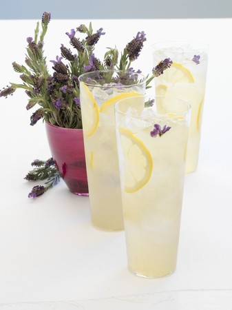 soda pops: 3 glasses of lavender lemonade, lavender flowers. Vodka, lemon juice, lavender syrup