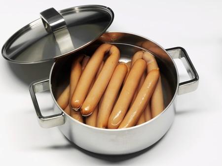 wienie: Bockwurst (German sausages) in a pan