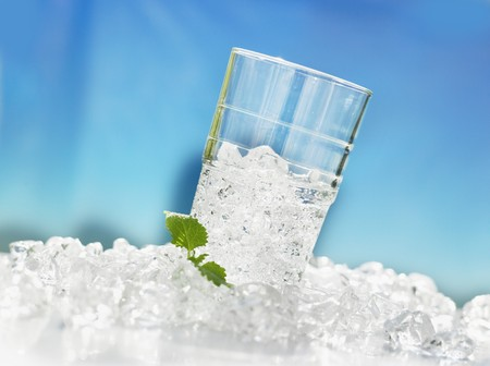 crushed ice: Tumbler with crushed ice and lemon balm LANG_EVOIMAGES