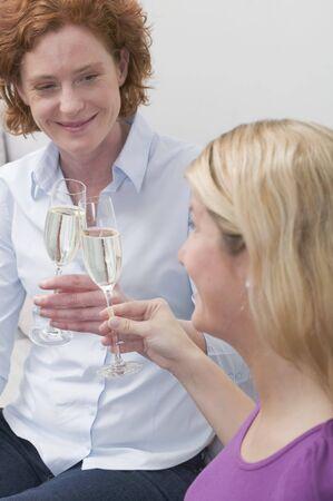 clinking: Dos amigos que tintinean los vidrios de vino espumoso