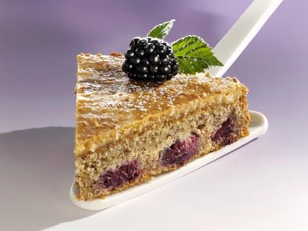 brambleberries: A piece of blackberry nut cake on cake server LANG_EVOIMAGES