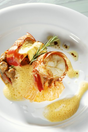 spiny lobster: Roasted spiny lobster with rye gnocchi & grilled cashew apple