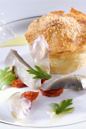 langouste: Parmentier of langouste with artichokes and tomato confit