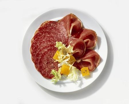 air dried salami: Cold cut plate (salami, raw ham) with sweet & sour pumpkin