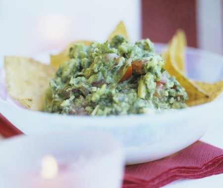 tortilla chips: Guacamole with tortilla chips