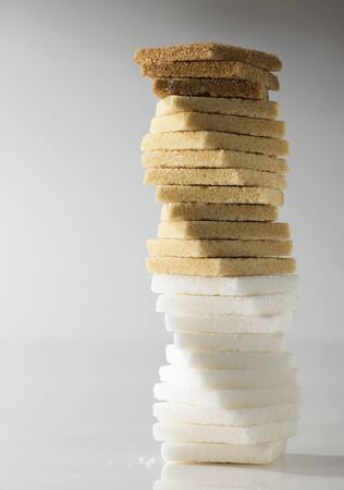 brownness: Tower of different types of sugar