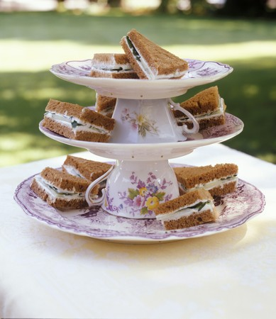 upturned: Sandwiches on tiered stand made with upturned cups