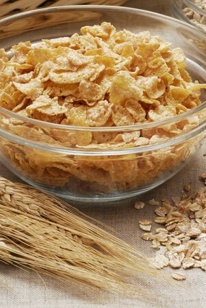 cornflakes: Cornflakes in a glass bowl LANG_EVOIMAGES