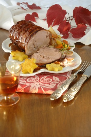 sherry: Roast veal roll in sherry stock