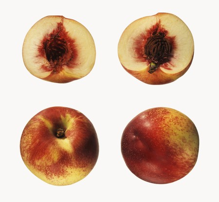 two and a half: Two whole and two half nectarines