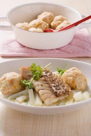 rabi: Coalfish fillet with creamy kohlrabi and semolina dumplings