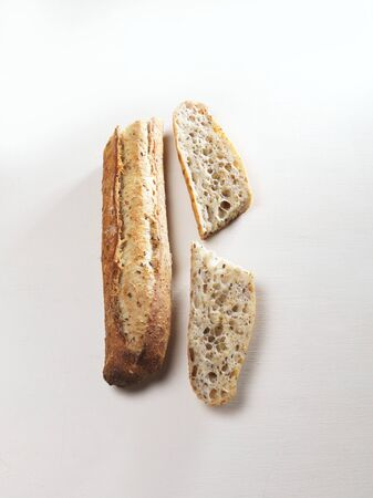 several breads: A grain baguette