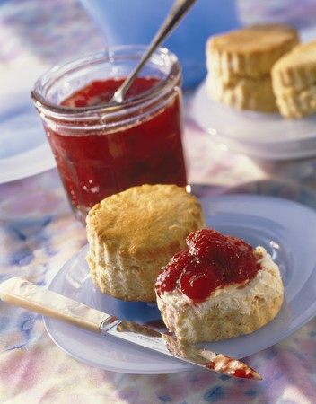 jams: Scones with clotted cream and strawberry jam
