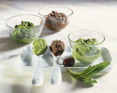 pastes: Spinach pesto with olive paste