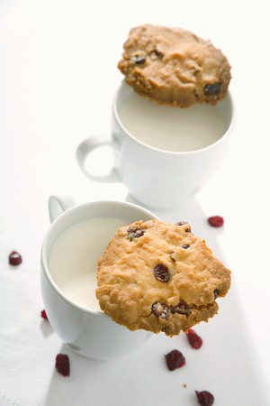 vaccinium macrocarpon: Two cranberry cookies and two cups of milk LANG_EVOIMAGES