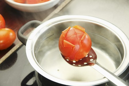 blanch: Blanching tomatoes