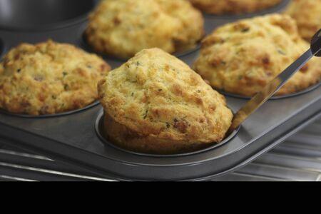savoury: Savoury muffins in a muffin tin