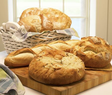 several breads: Assorted Loaves of Crusty Bread