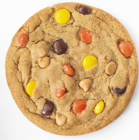 reese's: Reeses Pieces and Peanut Butter Chip Cookie; White Background