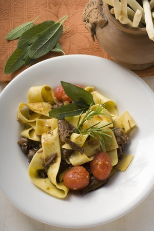 substantial: Ribbon pasta with braised oxtail, tomatoes, grissini