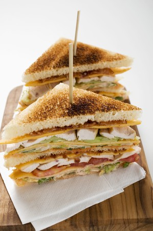 substantial: Chicken club sandwiches, toasted