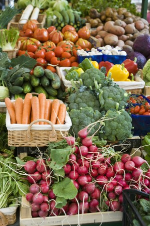 market stall: Market stall with various kinds of vegetables