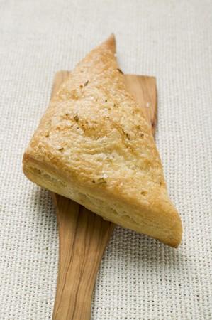 pasty: Triangular savoury puff pastry pasty on server