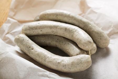 weisswurst: Fresh Weisswurst on paper