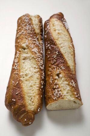pretzel stick: Salted pretzel stick, halved