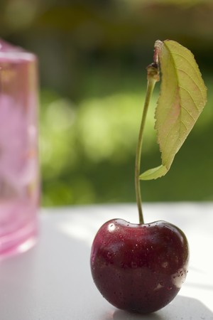 open air: Cherry with stalk and leaf on table in open air
