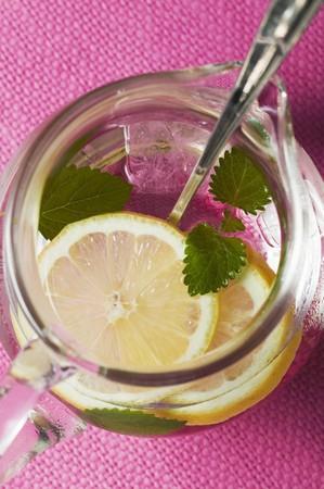 soda pops: Lemonade with ice cubes and lemon balm