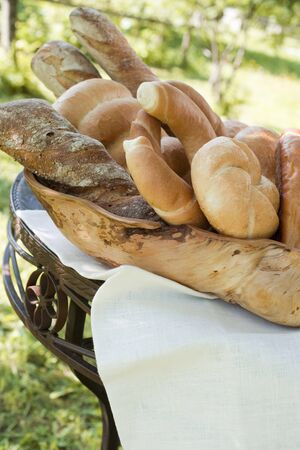 several breads: Assorted bread, bread rolls & croissants in bread basket