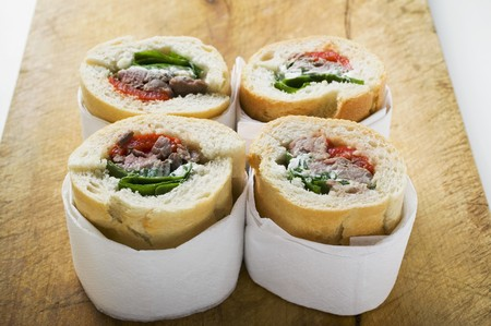 several breads: Sandwich rolls filled with pork and peppers LANG_EVOIMAGES
