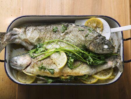 salmo trutta: Roast trout in roasting tin