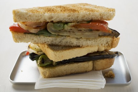 qs: Grilled vegetable sandwiches made with toast