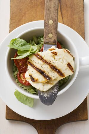 haloumi: Grilled Haloumi with orzo, basil and tomatoes
