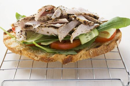 substantial: Toasted bread topped with pork and salad LANG_EVOIMAGES