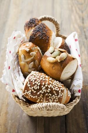 lye: Assorted pretzel rolls (or lye rolls) in bread basket