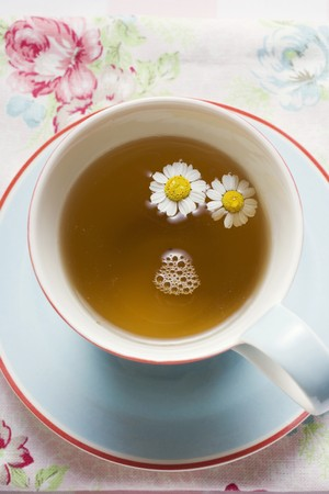 german chamomile: A cup of chamomile tea