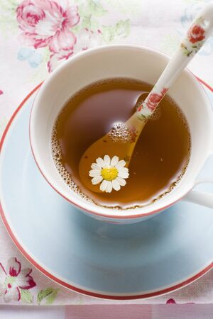 german chamomile: Chamomile tea in cup with spoon