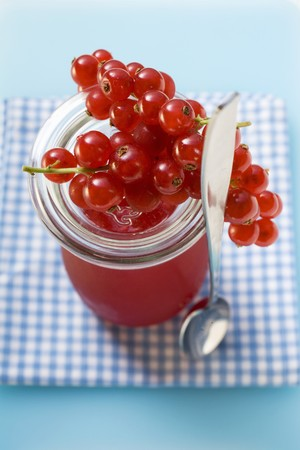 redcurrant: Redcurrants on a jar of redcurrant jelly LANG_EVOIMAGES
