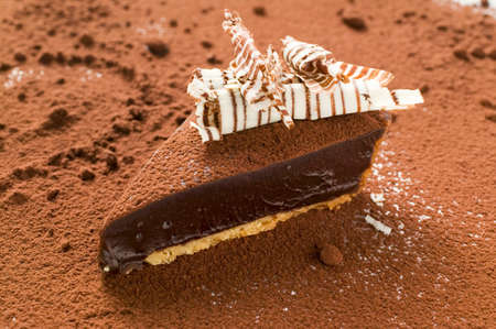 chocolate tart: Piece of chocolate tart on cocoa powder