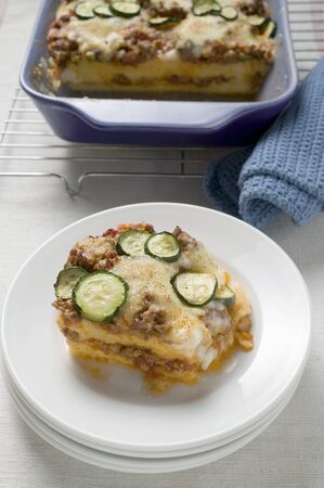 cocozelle: Polenta bake with mince and courgettes